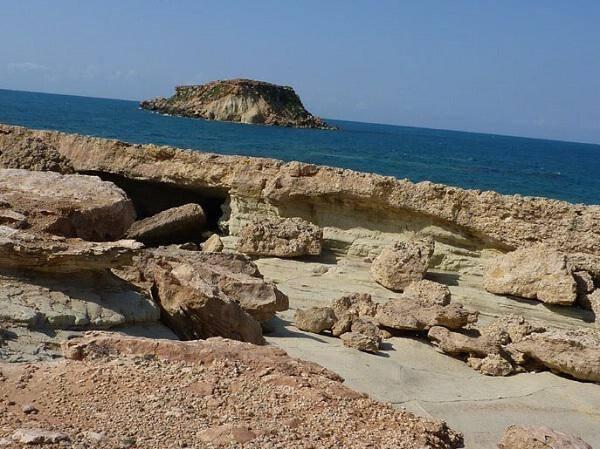 "Yeronisos, or ""Holy Island"", lies off the coast of Agios Georgios Pegeias"